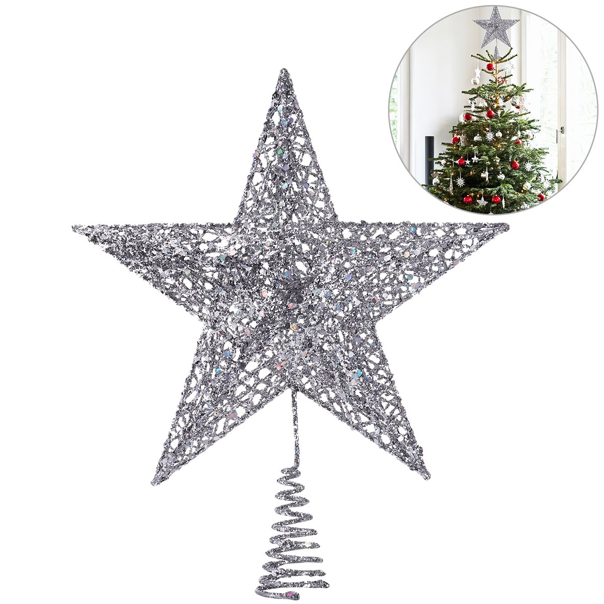 NICEXMAS Christmas Tree Topper Star Christmas Tree Decoration Exquisite Shimmery Star Treetop Decor, 25cm
