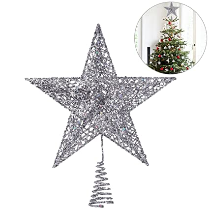 nicexmas christmas tree topper star christmas tree decoration star treetop decor 25cm - Christmas Tree Top Decorations