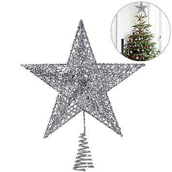 Stern Auf Weihnachtsbaum.Amazon De Nicexmas Weihnachtsbaum Topper Stern Weihnachtsbaum