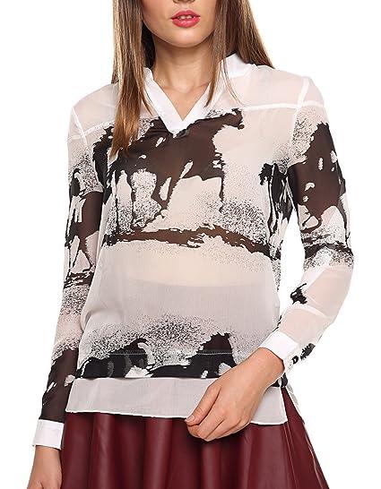 3cf1c92281f852 Fanala Womens Horse Animal Printed V-Neck Chiffon Ink Blouse Sheer Tops (US  XS