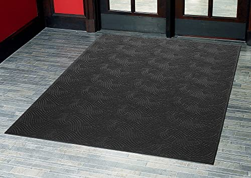Consolidated Plastics Aquasorb Swirl Indoor Covered Outdoor Heavy-Duty Entrance Floor Mat, Black, 45 Width x 96 Length