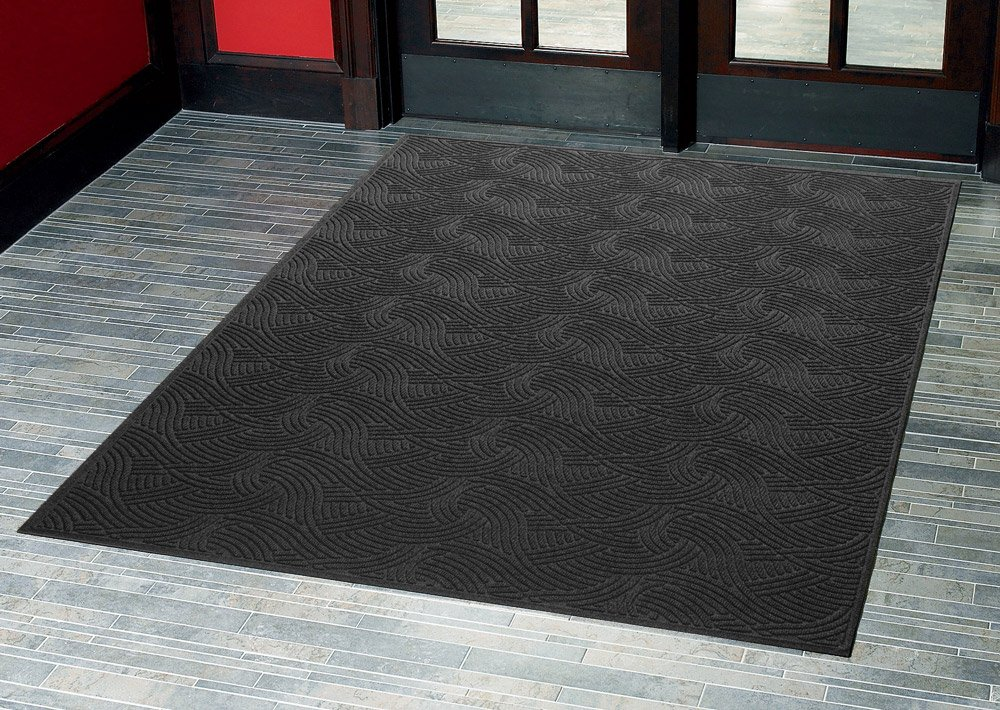Aquasorb Swirl Indoor/Covered Outdoor Heavy-Duty Entrance Floor Mat, Black, 35'' Width x 116'' Length by Consolidated Plastics