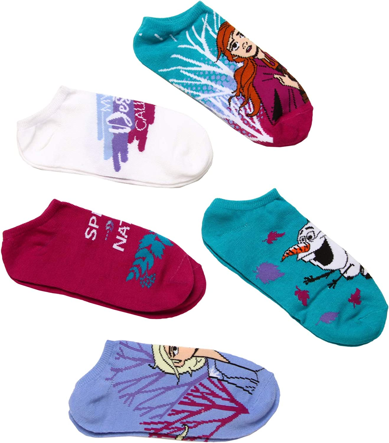 NEW Disney Frozen Anna /& Elsa girl/'s socks 6 pack size 9-11 youth no show
