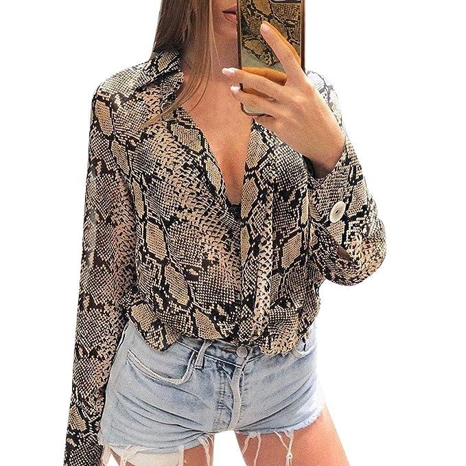 Blusas Mujer Primavera 2019 Fossen Elegante Gasa Camisa Mujer Manga Larga  Botones Casual Estampado De Serpiente Camisetas Tops Vestir De Fiesta   Amazon.es  ... af162db2e5cde