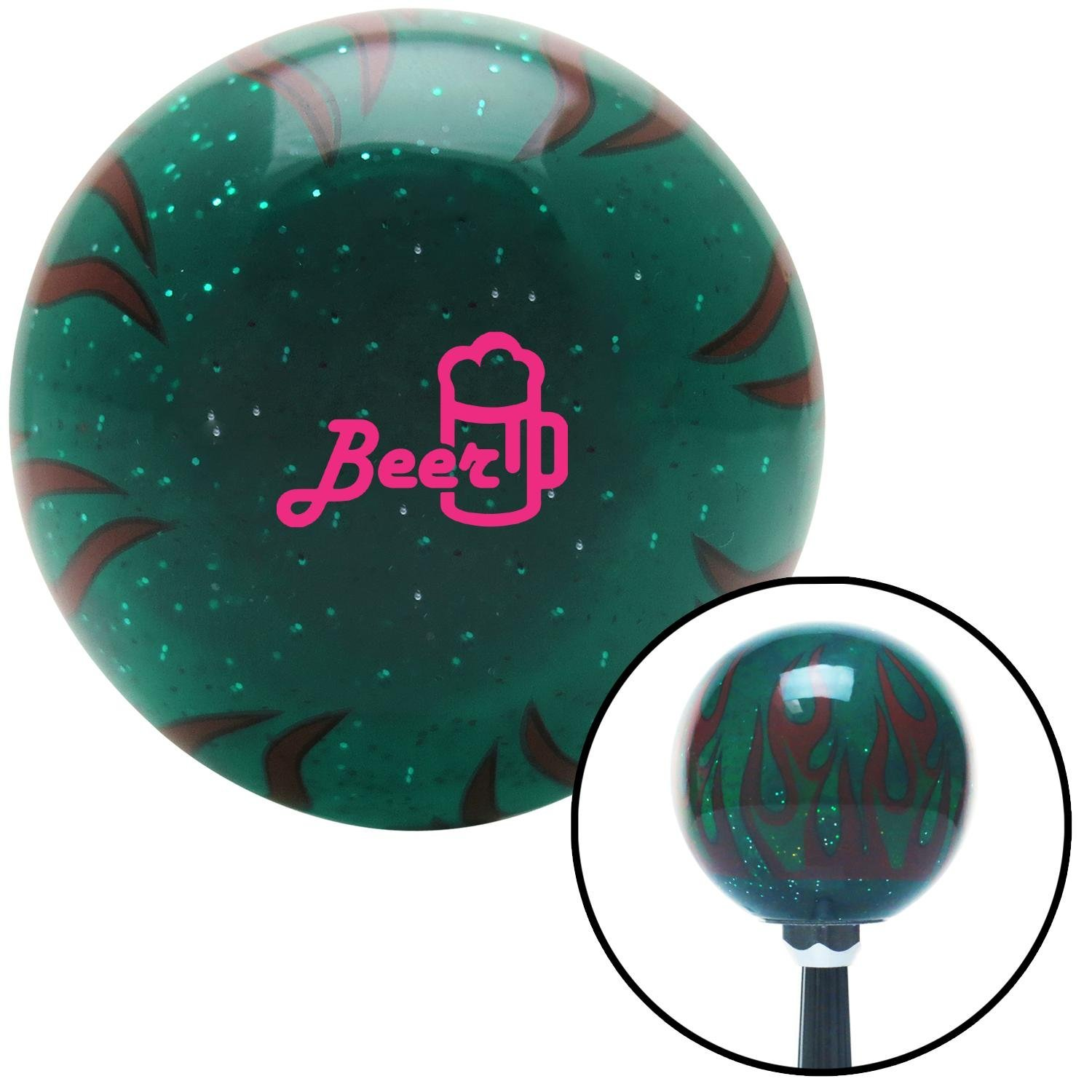 American Shifter 300486 Shift Knob Pink Beer and Mug Green Flame Metal Flake with M16 x 1.5 Insert