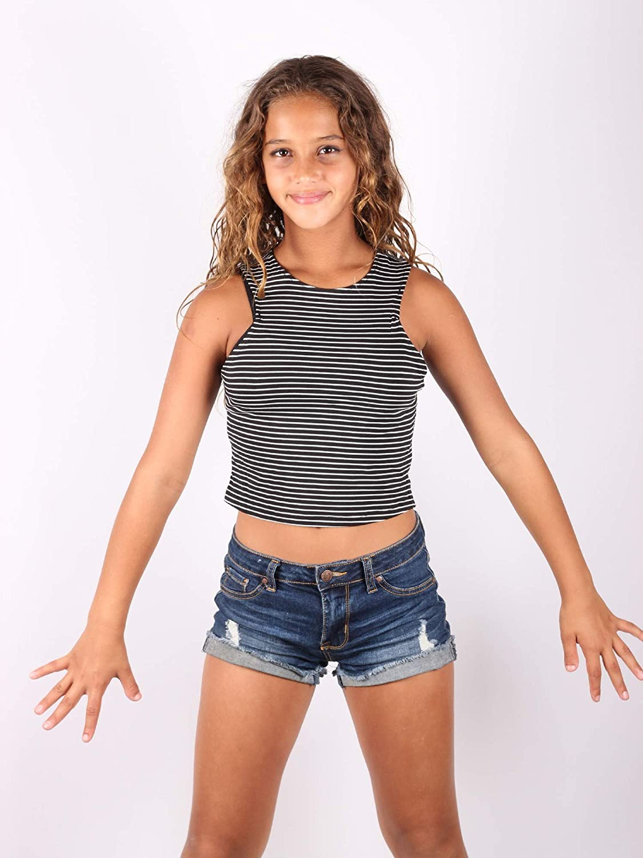 Lori /& Jane Big Girls Black White Stripe Tank Top 8