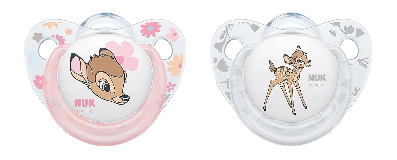 NUK Disney Classics Trendline Silikon-Schnuller Bambi, kiefergerechte Form, 0-6 Monate, 2 Stück 2 Stück MAPA GmbH - Baby (VSS) 10175205