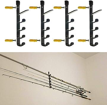AUXPhome Bastidor de almacenamiento de pared para caña de pescar, soporte de caña de pescar para garaje, cabina y sótano, resistente, soporta hasta 10 ...