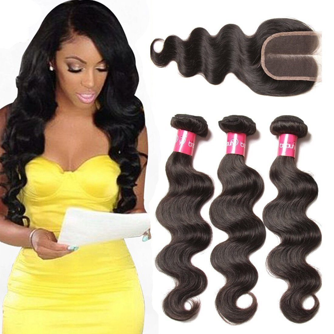 Dinoce Compatible with Longqi Beauty Body Wave Hair 3 Bundles with Closure Brazilian Middle Part Lace Closure 4x4 10A 100% Unprocessed Virgin Human Hair Natural Color 12 14 16+10 by Dinoce