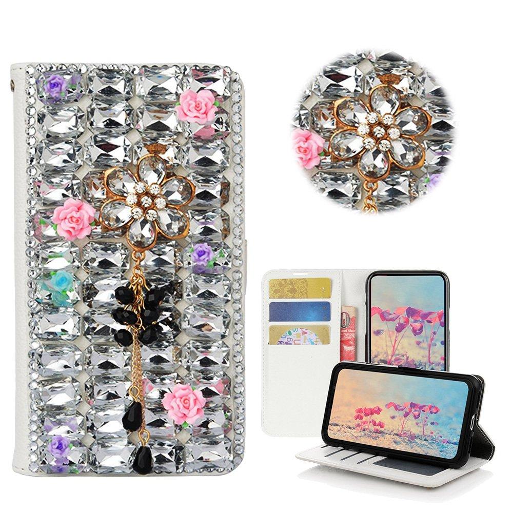 STENES LG V30 Case, LG V30 Plus Case - Stylish - 3D Handmade Bling Crystal Flowers Pendant Rose Floral Wallet Credit Card Slots Fold Media Stand Leather Cover Case - White