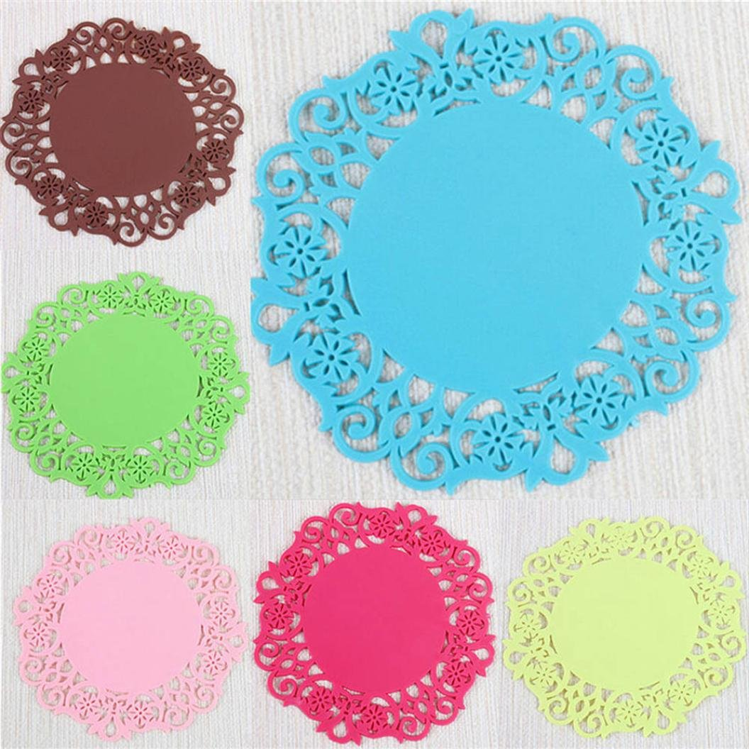 Fheaven Silicone Round Coasters, Flower Doilies Silicone Coaster Tea Cup Holder Coffee Mug Place Mats Pad Insulation Lacework Placemat Lau (A) by Fheaven (Image #2)