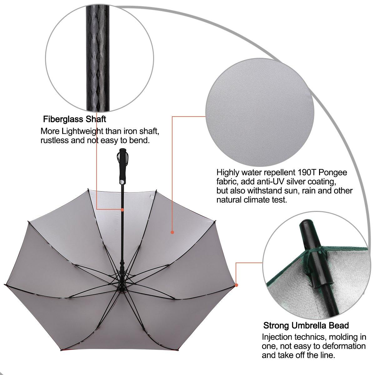 G4Free 62 paraguas de Golf Plata Revestimiento grande toldo impermeable y a prueba de viento automático abierto sol protección Stick paraguas para hombres y ...