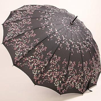 LYYUMBRELLAS Paraguas Retro de Verano de Mango Largo Paraguas de Estilo japonés de 16 Huesos Flores