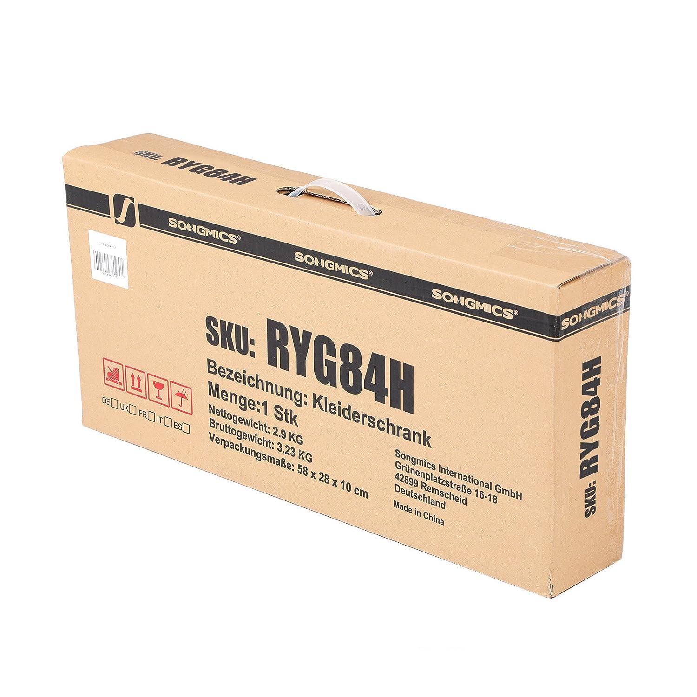 SONGMICS Armario Plegable para Ropa Ropero de Metal y Tela Resistente al Polvo 88 x 45 x 170 cm Beige RYG84H