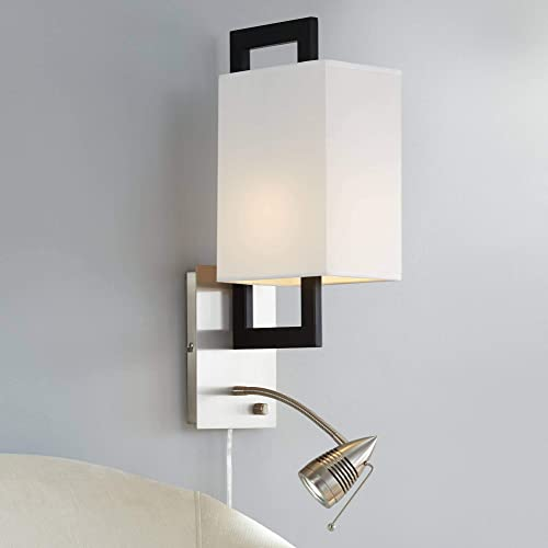 Floating Square Modern Wall Lamp LED Gooseneck Brushed Nickel Matte Black Plug-in Light Fixture Off White Shade for Bedroom Bedside Living Room Reading – Possini Euro Design