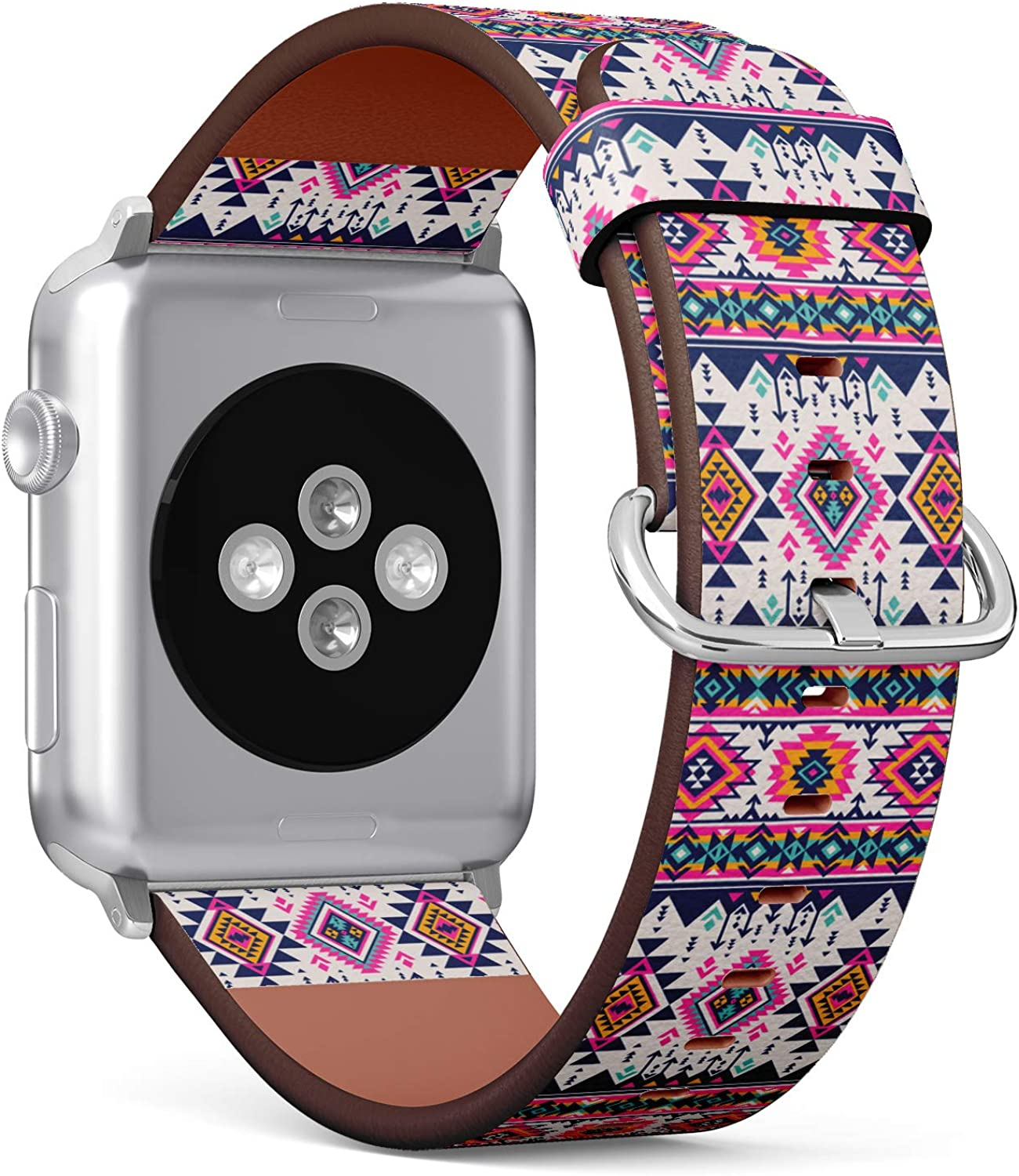 (Tribal Navajo Pattern with Aztec Fancy Abstract Geometric Art) Patterned Leather Wristband Strap for Apple Watch Series 4/3/2/1 gen,Replacement for iWatch 42mm / 44mm Bands