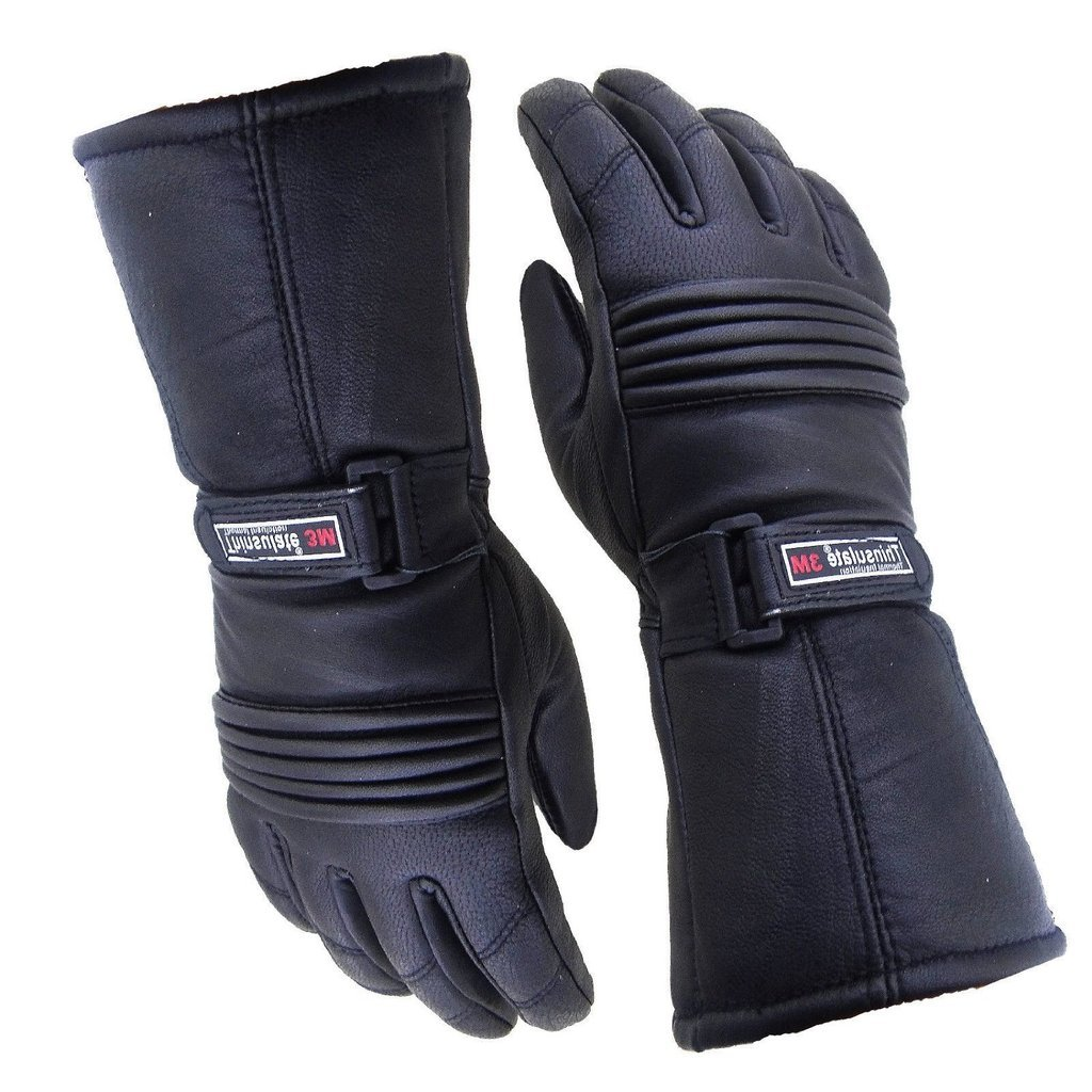 Bikers Gear Motorcycle Thinsulate and Waterproof Leather Gloves, Black, Size Large Bikers Gear UK GWTH-L