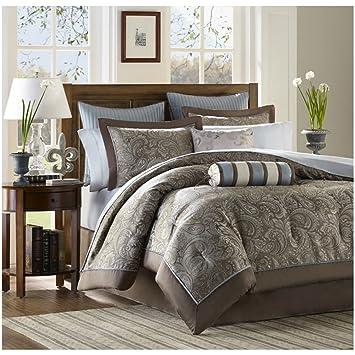 Amazoncom Luxury Blue Brown Paisley Bedding Comforter Set of 12