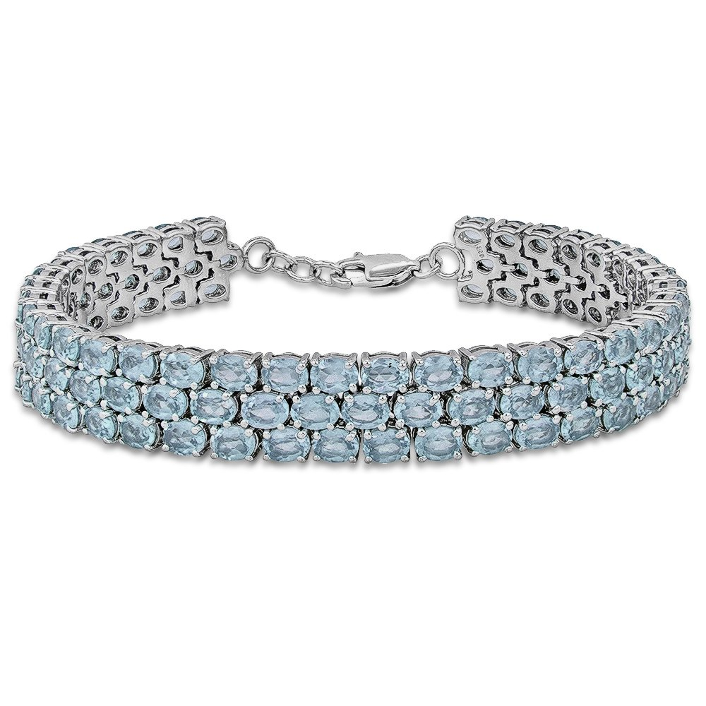 Fine Sky Blue Topaz Tennis Bracelet in Sterling Silver