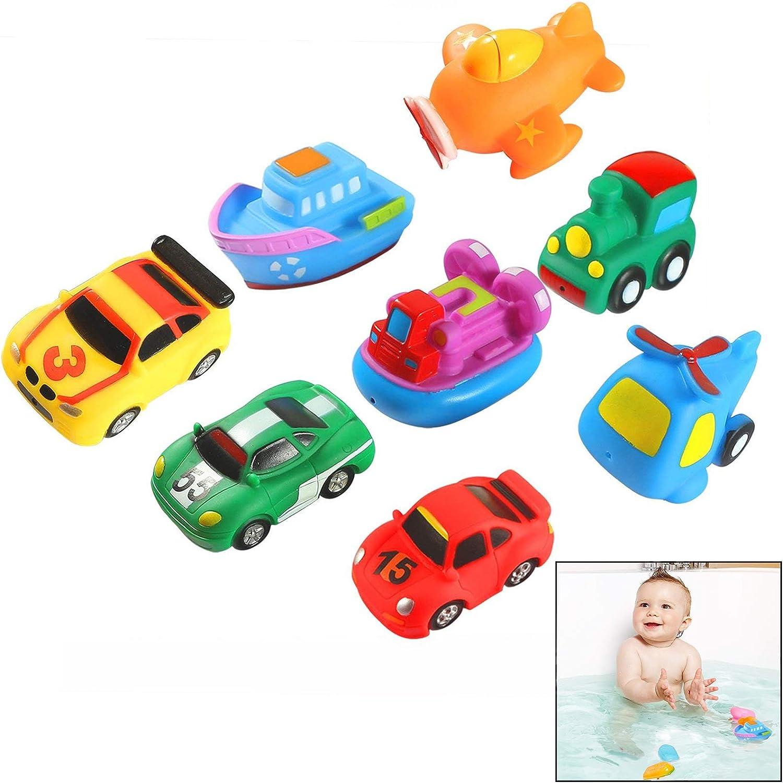 Xrten 8 Pcs Juguetes de Baño Fotante de Goma para Bebé Niños - Autos de Carreras, Barcos, Aviones y Tren
