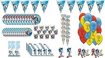 ALMACENESADAN 1005, Pack Fiesta y cumpleaños Total Sonic, 12 Invitados (93 Piezas): Amazon.es: Juguetes y juegos