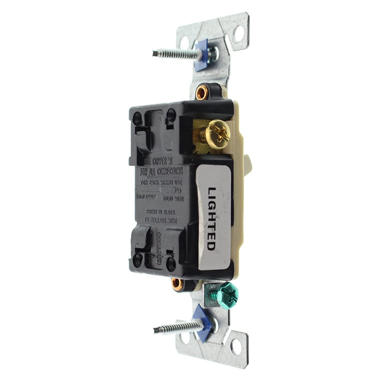 Hubbell Rs315ilcz Lighted Toggle Switch 3 Way Grounding 15 Amp Key 120 Volt Ivory 96 Pack