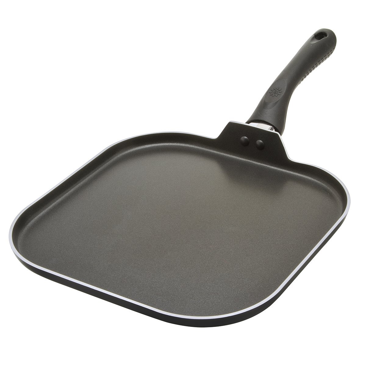 Ecolution Artistry Non-Stick Griddle -PFOA Free Hydrolon Non-Stick - Pure Heavy-Gauge Aluminum with a Soft Silicone Handle - Dishwasher Safe - Black - 11'' x 11''