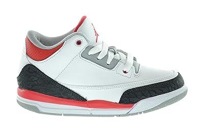 dd8c6f390dcafc Jordan 3 Retro Little Kids Basketball Shoes White Fire Red-Silver-Black  429487