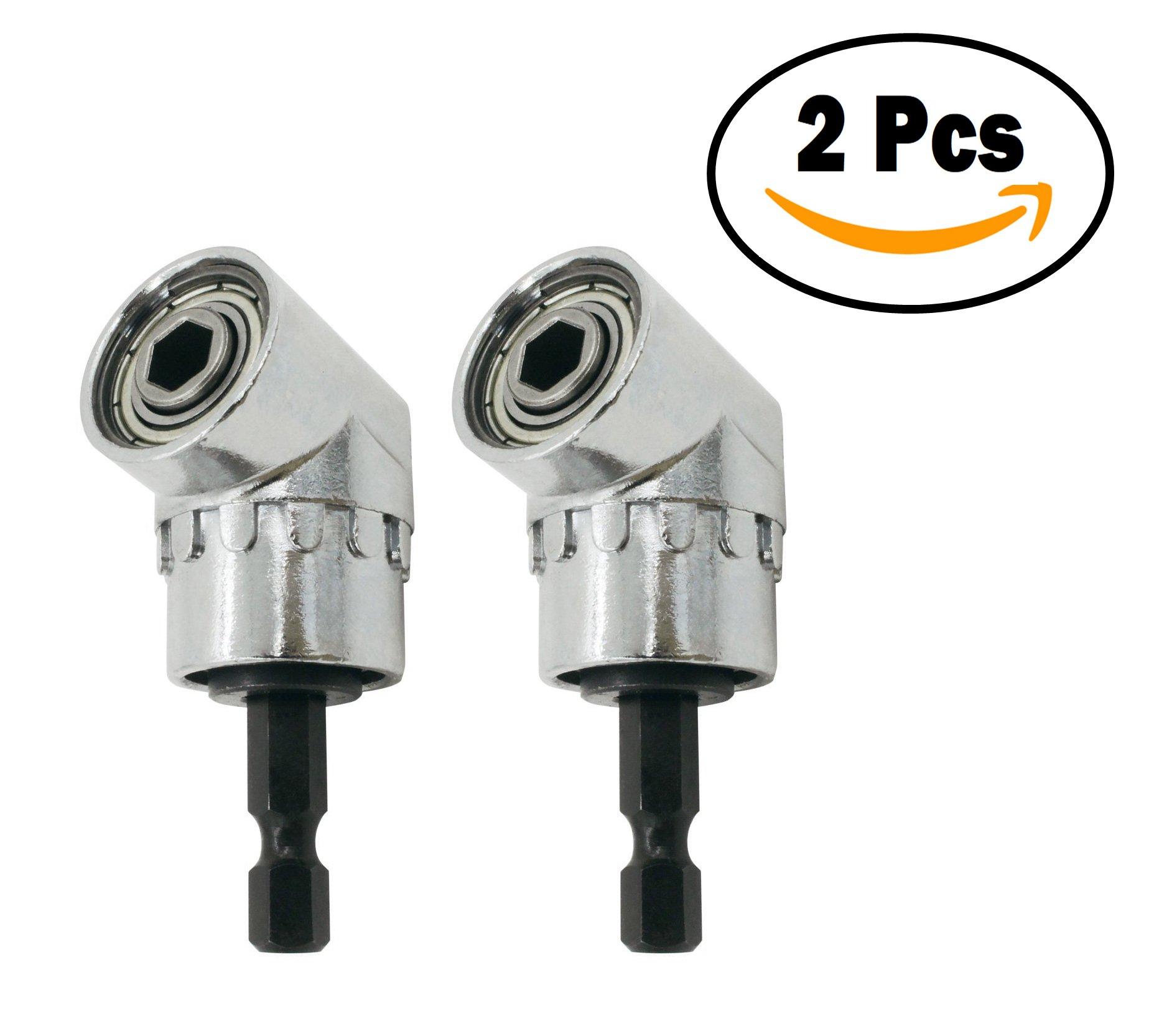 Angle Bit Holder 105 Degree 1/4 Inch 6mm Extension Adjustable Hex Drill Bit Angle Driver Screwdriver Socket Bit Holder Adaptor Tools (2 Pcs)