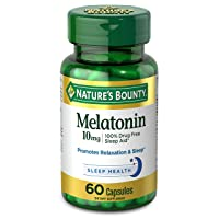 Melatonin by Nature's Bounty, 100% Drug Free Sleep Aid, Dietary Supplement, Promotes Relaxation and Sleep Health, 10mg, 60 Capsules