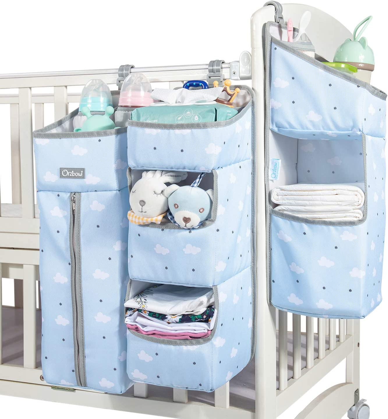 Orzbow 3-in-1 Nursery Organizer and Baby Diaper Caddy | Hanging Diaper Organization Storage for Baby Essentials | Hang on Crib, Changing Table or Wall (blue)