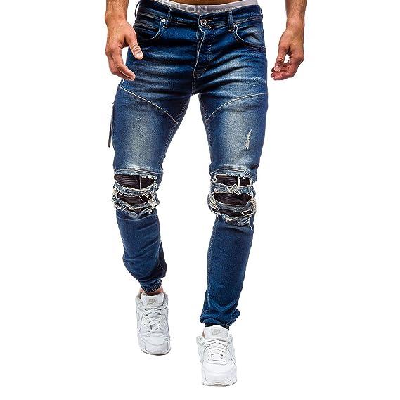 Pantalons Jeans Destroy Stretch Déchiré Wslcn Biker Denim Trou Homme 48Ewqqxa