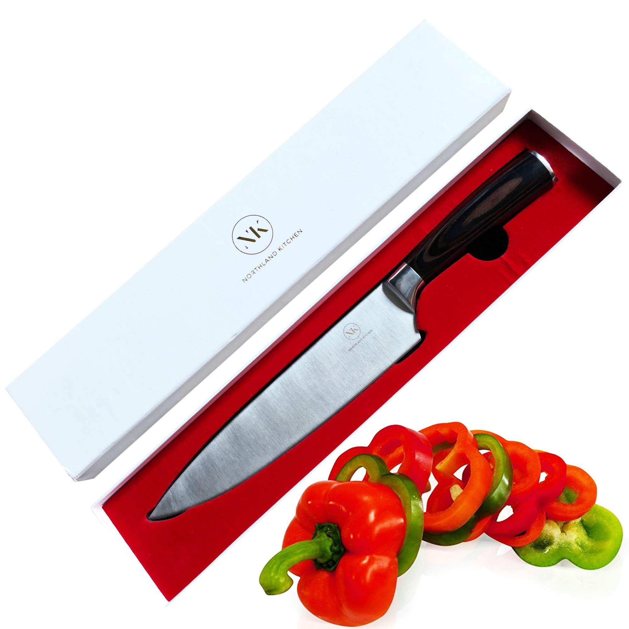 Chef's Knife by Northland Kitchen - Professional 8 inch Stainless Steel Blade with Wood Handle - Ergonomic and Sharp - Well Balanced and Weighted - High Carbon Steel - For Home and Restaurant