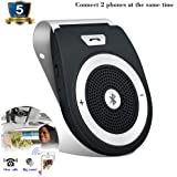 Car Speakerphone TIANSHILI Wireless Hands-free Bluetooth Connect 2 Phones Audio Receiver Stereo Music Player with Sun Visor Went for iPhone, iPad, Samsung Galaxy,HTC,LG, Android(Black)