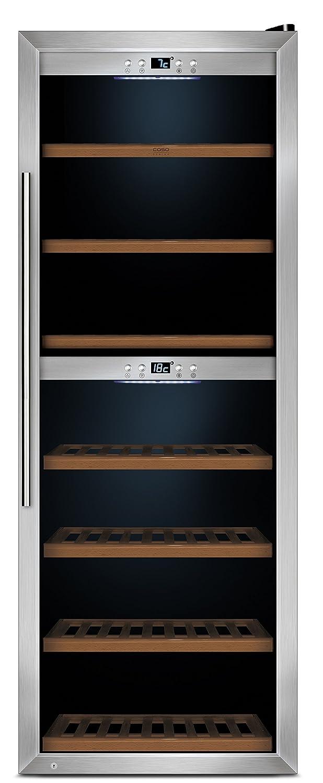 CASO WineComfort 126 Design Weinkühlschrank für bis zu 126 Flaschen (bis zu 310 mm Höhe), zwei Temperaturzonen 5-20°C, Getränkekühlschrank, Energieklasse B [Energieklasse B] 655 665