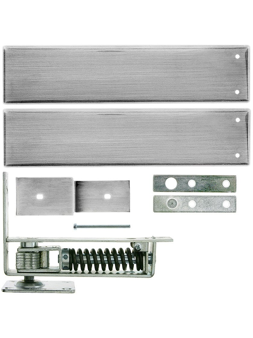 Standard Duty Swinging Door Floor Hinge With Plated-Steel Cover Plates In Satin Chrome by House of Antique Hardware, Inc.