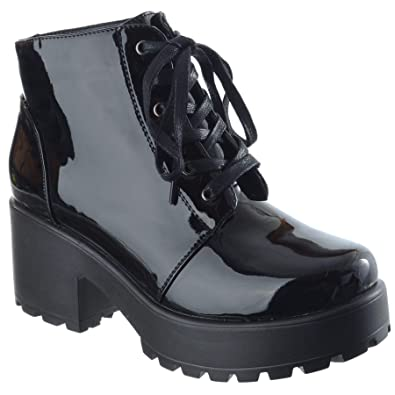 ce4edcdcb0 Womens Ladies New Chunky Block MID HIGH Heel LACE UP Biker Combat Platform  Ankle Boots Shoes Size: Amazon.co.uk: Shoes & Bags