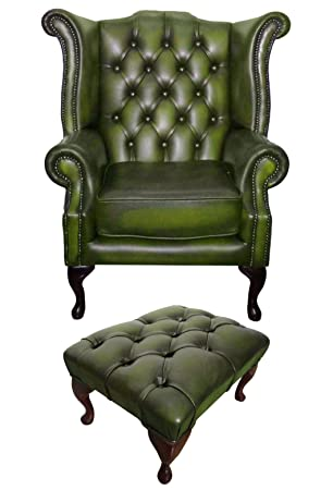 Chesterfield 100% Antik Echt Leder Grün Queen Anne Sessel Und Füße.