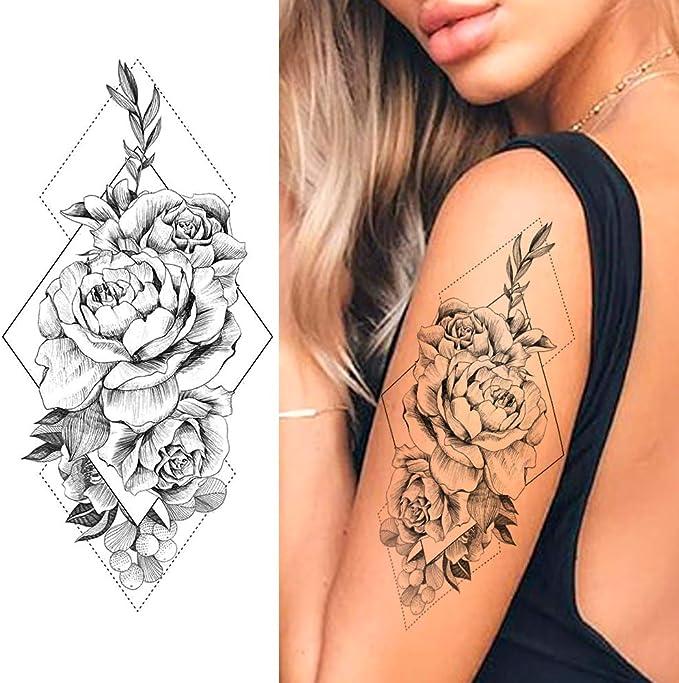LAROI 10 Hojas Flor De Margarita Melocotón Geométrica Tatuajes ...