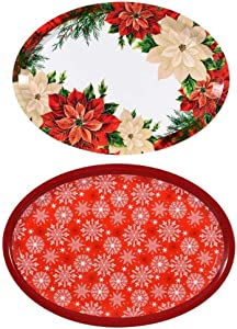 Set of Two Large Oval Christmas Holiday Design Melamine Platter Dishes (Snowflake & Poinsettia)