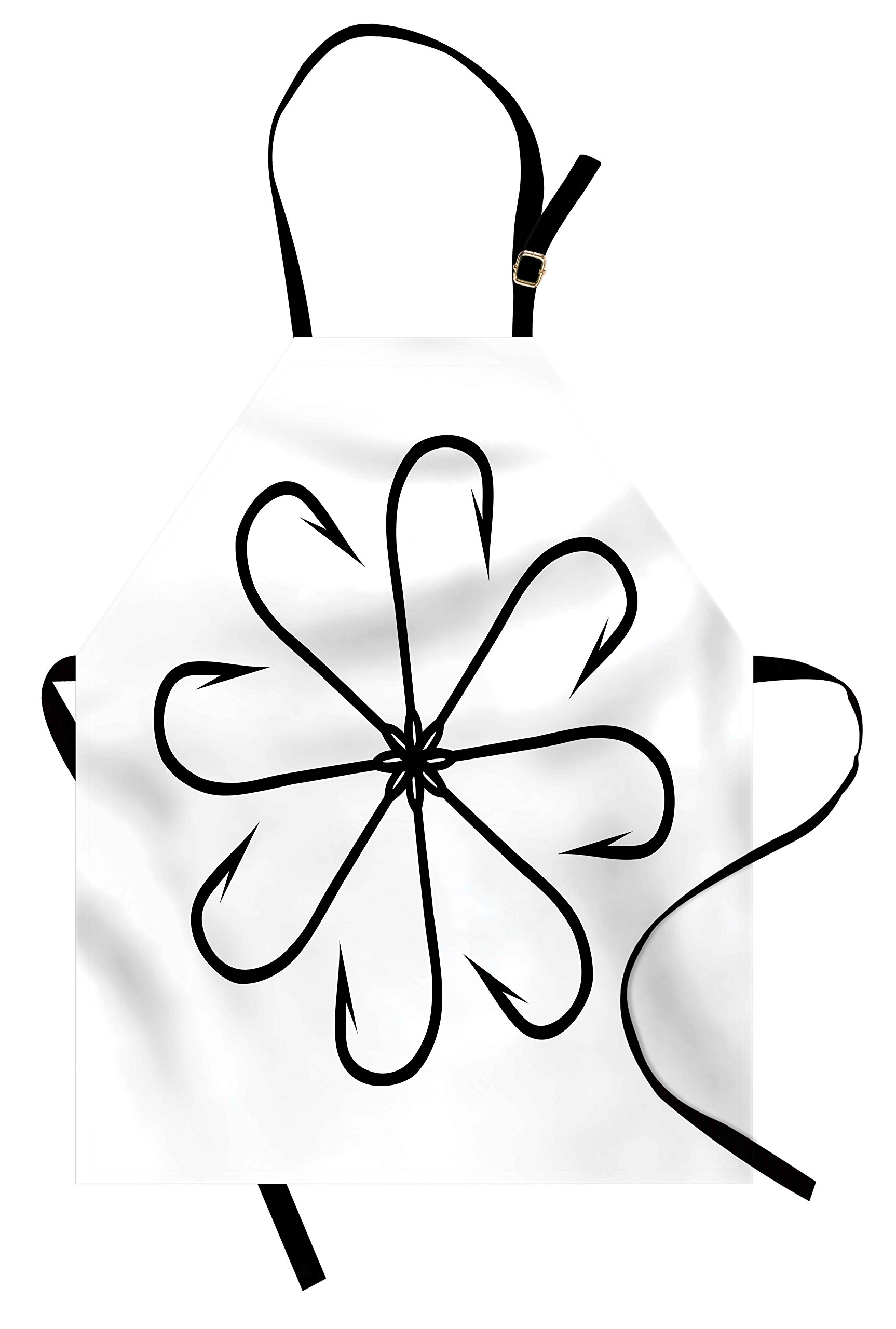 Ambesonne Fishing Apron, Flower Shaped Artisan Steel Multi Hook Gaff in Row New Needle Device Figure Print, Unisex Kitchen Bib Apron with Adjustable Neck for Cooking Baking Gardening, Black White
