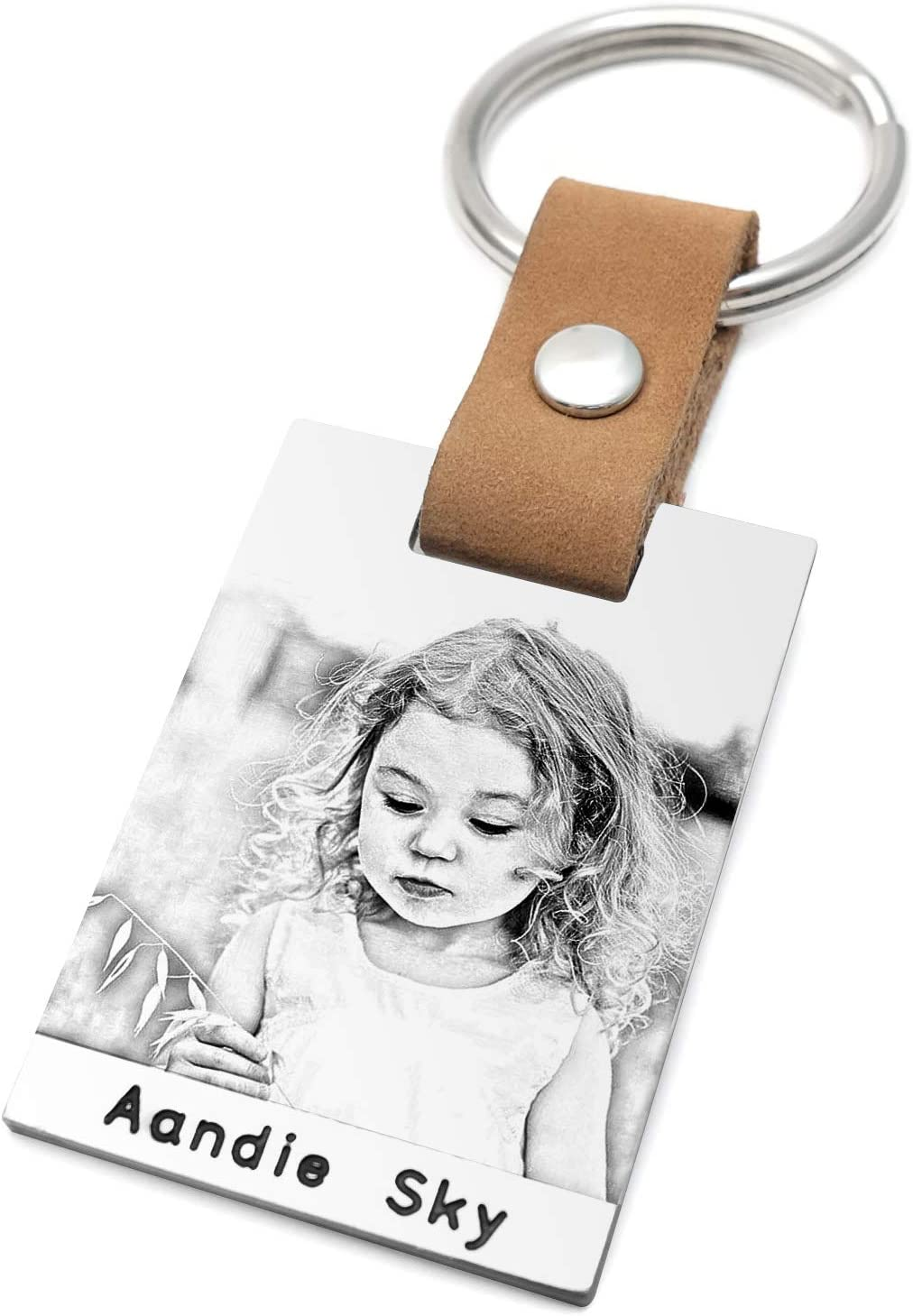 Personalised Photo Keyring Custom Photo Keychain Leather Dad Key Chain First Fathers Day Gift Dad Birthday Gift (Black and White Photo)