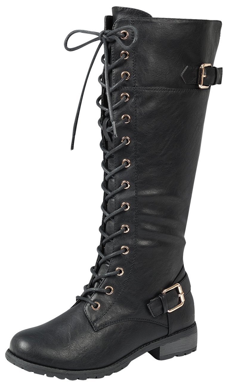 Forever Link Women's Strappy Lace-up Knee High Combat Stacked Heel Boot,8.5 B(M) US,Black