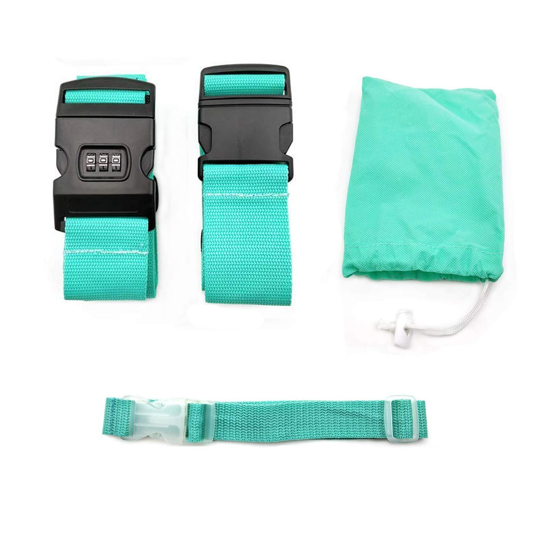 CHMETE Travel Suitcase Belts/Luggage Straps, 2pcs-Mint Green CHMETE4254