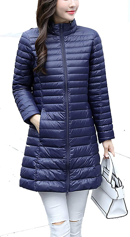 Navy bluee RESPEEDIME Women's Down Coat Long Fall and Winter Stand Collar Slim Warm Jacket