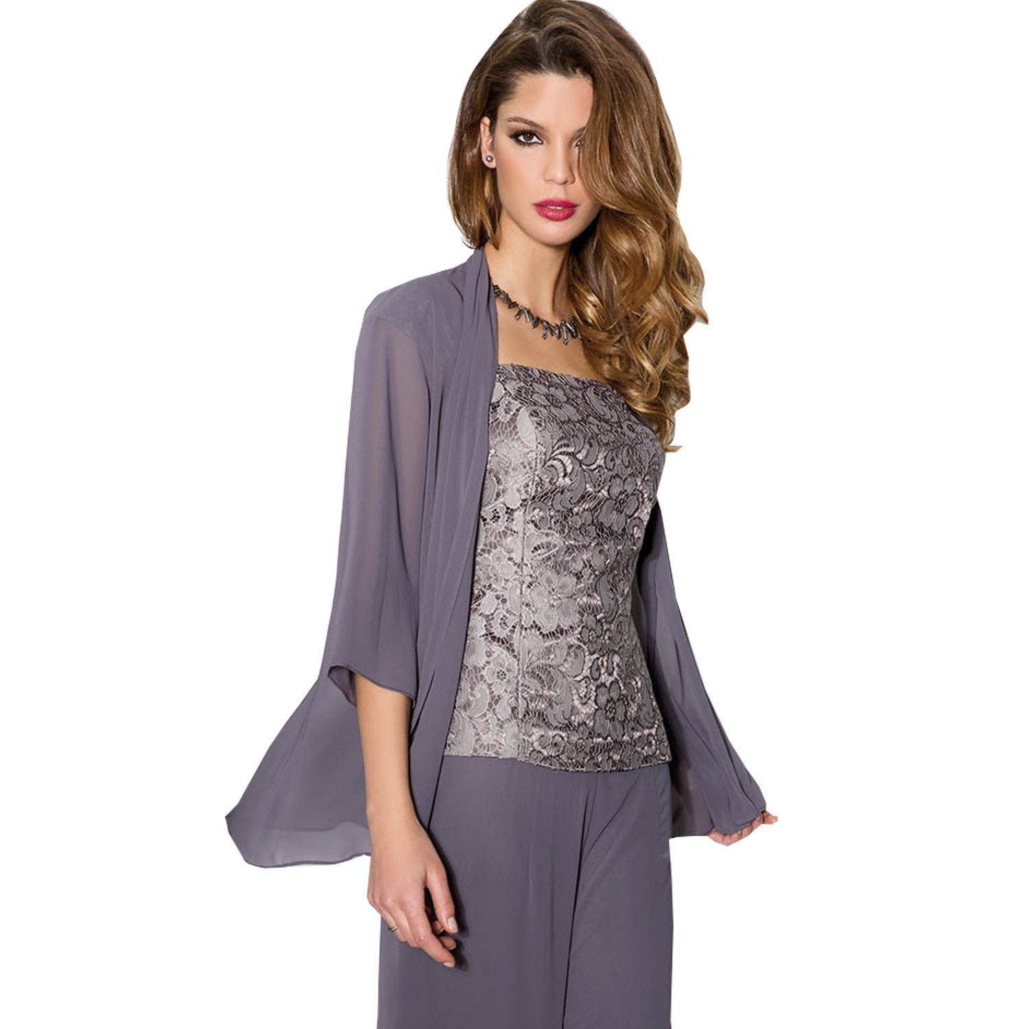 Newdeve Purple Chiffon Lace 3 Pieces Mother Of The Bride Pantsuits