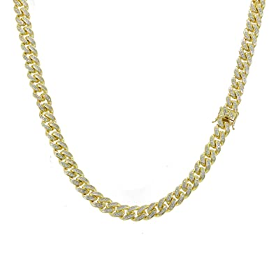 f8ee08f2187 Image Unavailable. Image not available for. Color  10mm 28 quot  Cuban Link  Chain - 16ct TW VVS Lab Diamonds - 14k Gold Plated