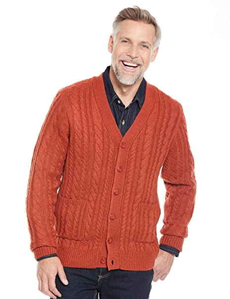 5610dc235b8a Mens Shetland Wool Cable Cardigan  Amazon.com.au  Fashion