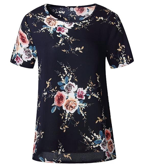 3b6c1886d1e3 Freestyle Sommer Damen Tops Sweatshirt Oberteile Fashion Print Blouse T- Shirt Kurzarmshirts Beiläufige Locker Rundhals Kurzarm Hemden  Amazon.de   Bekleidung
