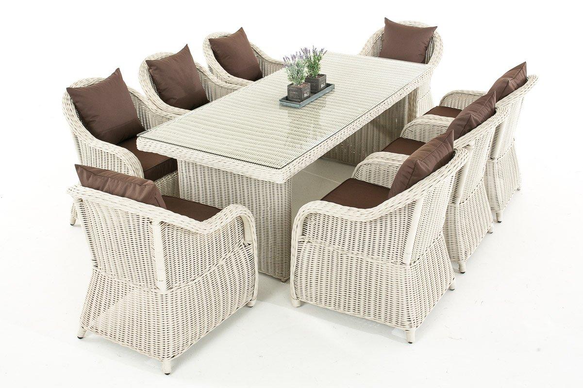Mendler Garten-Garnitur CP071 XL, Sitzgruppe Lounge-Garnitur Poly-Rattan ~ Kissen terrabraun, perlweiß